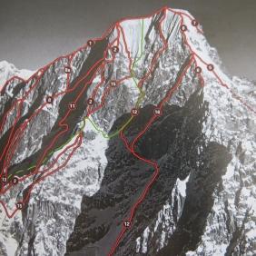 Route overlay. We climbed the green line. Photo courtesy of Alpinist.
