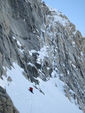 Clint below the crux pitches of the Phantom Wall