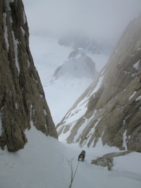 In the upper couloir