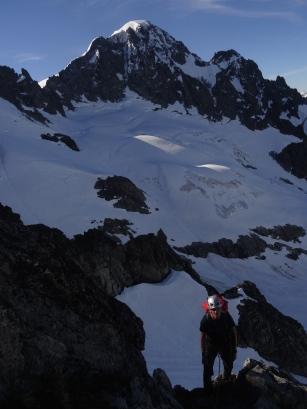On the SW Buttress of Dorado Needle. Eldorado Peak behind.