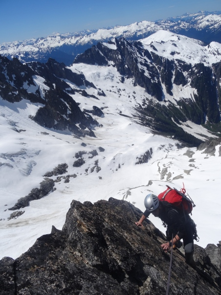 High on the SW Buttress of Dorado Needle, North Cascades National Park