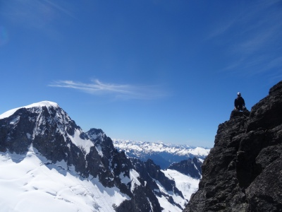 On the Gendarme, SW Buttress, Dorado Needle. North Cascades National Park