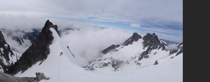 On the snow arete of the West Arete of Eldorado Peak. North Cascades National Park