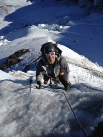 On the crux ice step, North Ridge of Mount Baker