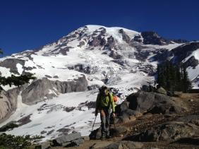 Returning to Paradise after climbing the Kautz Glacier on Mount Rainier