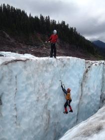 Ice climbing practice, lower Coleman Glacier, Mount Baker